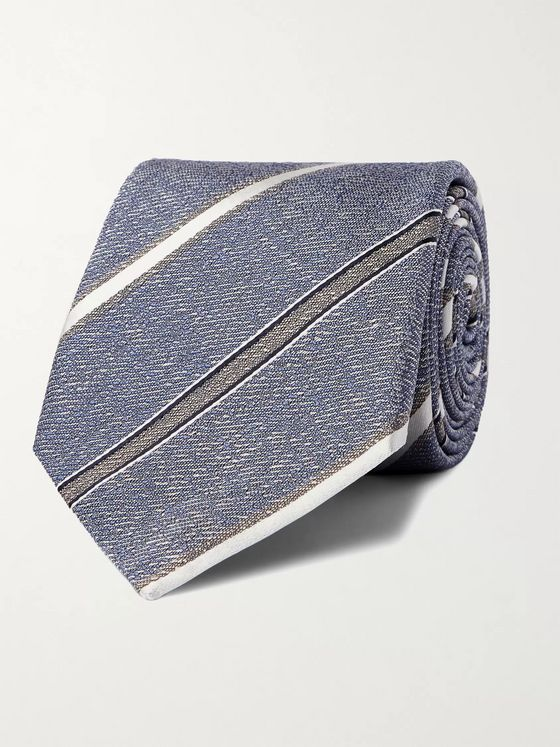 CANALI 8cm Striped Mélange Silk Tie