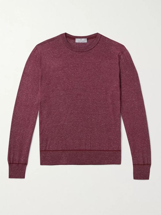 Canali Striped Mélange Cotton Sweater