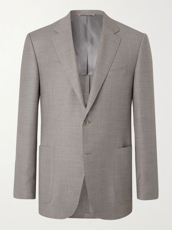 CANALI Slim-Fit Unstructured Checked Super 130s Wool Blazer