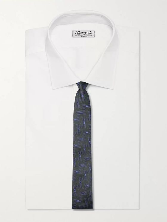 Canali 8cm Embroidered Silk Tie