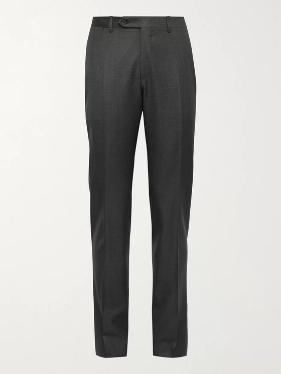 CANALI Slim-Fit 130s Sharkskin Wool Suit Trousers