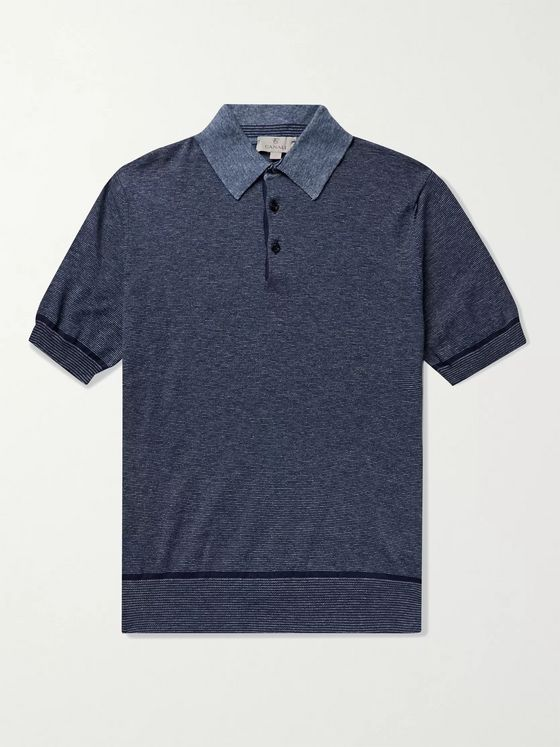CANALI Striped Mélange Cotton Polo Shirt