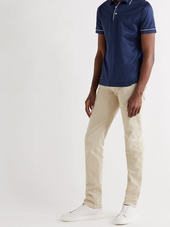 CANALI Contrast-Tipped Cotton Polo Shirt