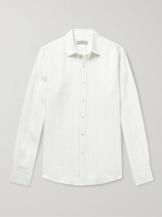 CANALI Striped Slub Linen-Blend Shirt