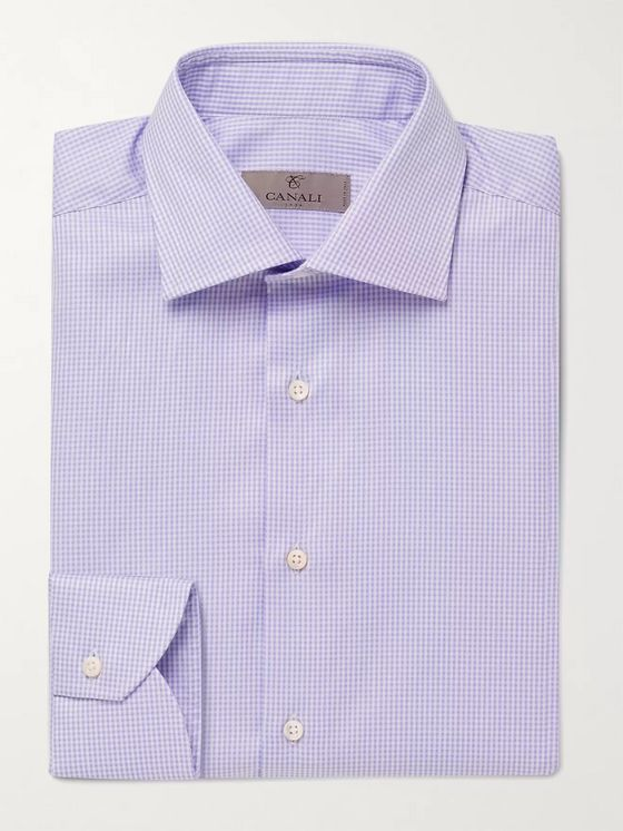 CANALI Cutaway-Collar Micro-Gingham Cotton Shirt