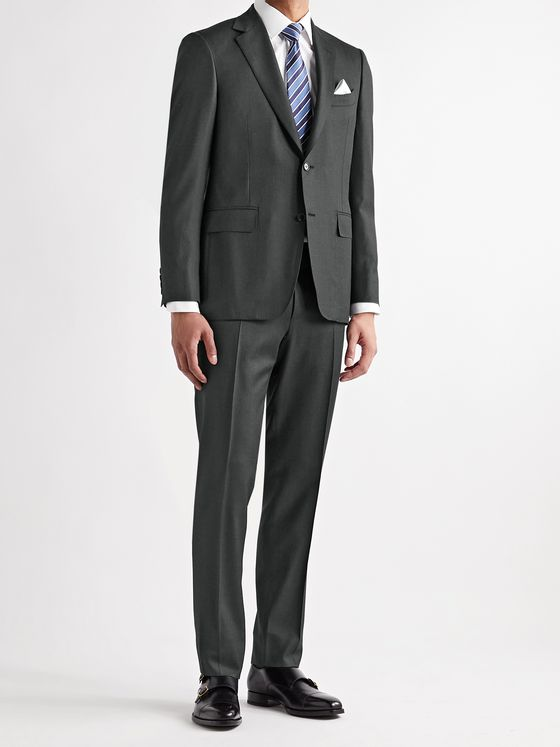 CANALI Slim-Fit 130s Sharkskin Wool Suit Jacket