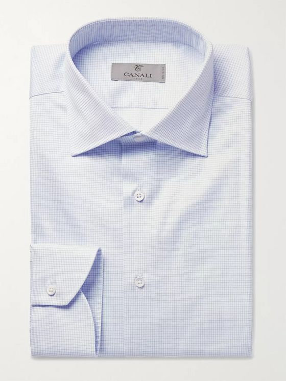CANALI Cutaway-Collar Checked Cotton-Poplin Shirt