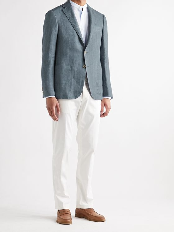CANALI Kei Slim-Fit Unstructured Herringbone Linen Blazer