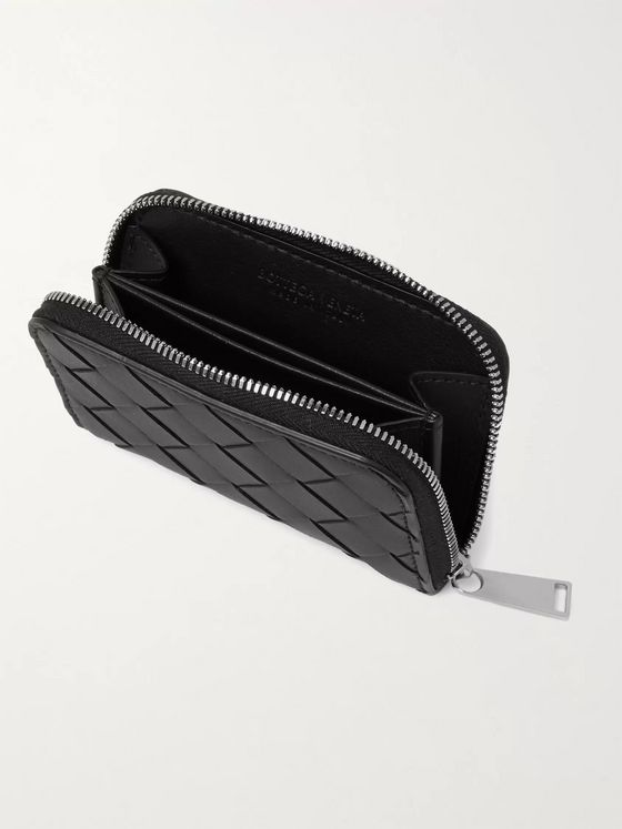 BOTTEGA VENETA Intrecciato Leather Zip-Around Coin Wallet