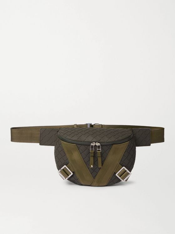 BOTTEGA VENETA Webbing-Trimmed Intrecciato Rubber Belt Bag