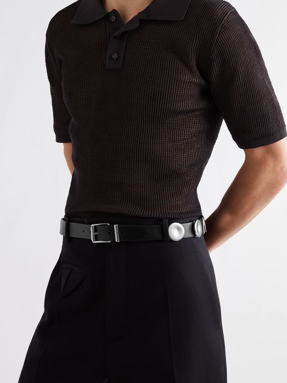 BOTTEGA VENETA 3cm Leather and Silver-Tone Belt