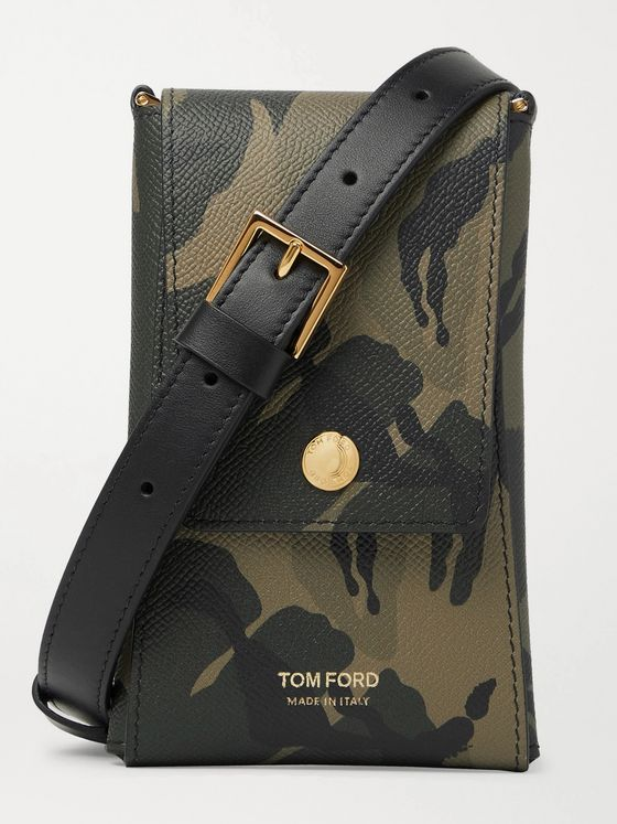 TOM FORD Camouflage-Print Full-Grain Leather Messenger Bag