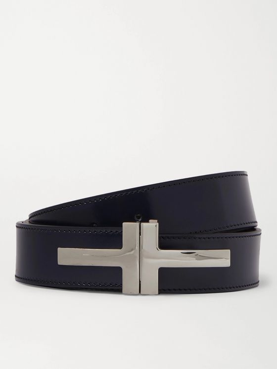 TOM FORD 3cm Polished-Leather Belt