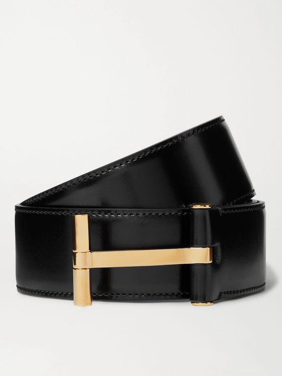 TOM FORD 4cm Polished-Leather Belt