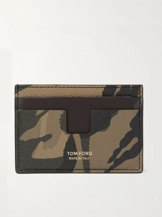 TOM FORD Camouflage-Print Full-Grain Leather Cardholder