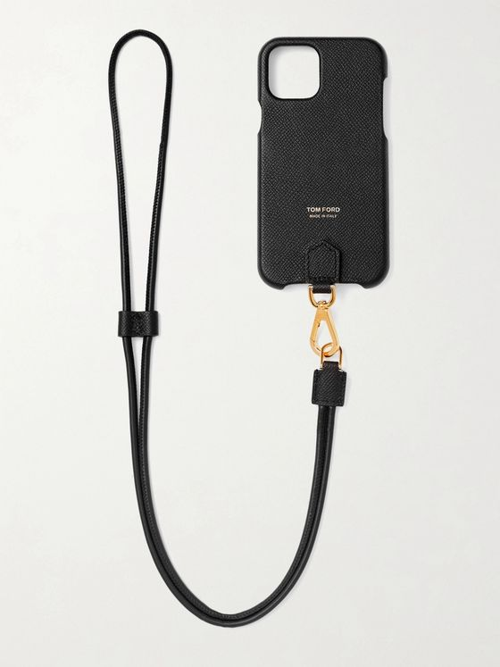 TOM FORD Logo-Print Full-Grain Leather iPhone 11 Pro Case with Lanyard