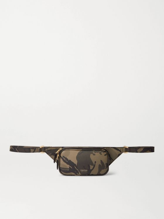 TOM FORD Camouflage-Print Pebble-Grain Leather Belt Bag