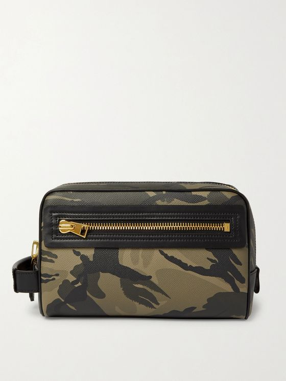 TOM FORD Camouflage-Print Full-Grain Leather Wash Bag