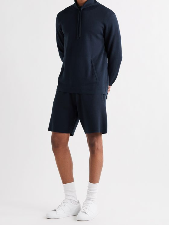 MR P. Knitted Silk and Cotton-Blend Drawstring Shorts