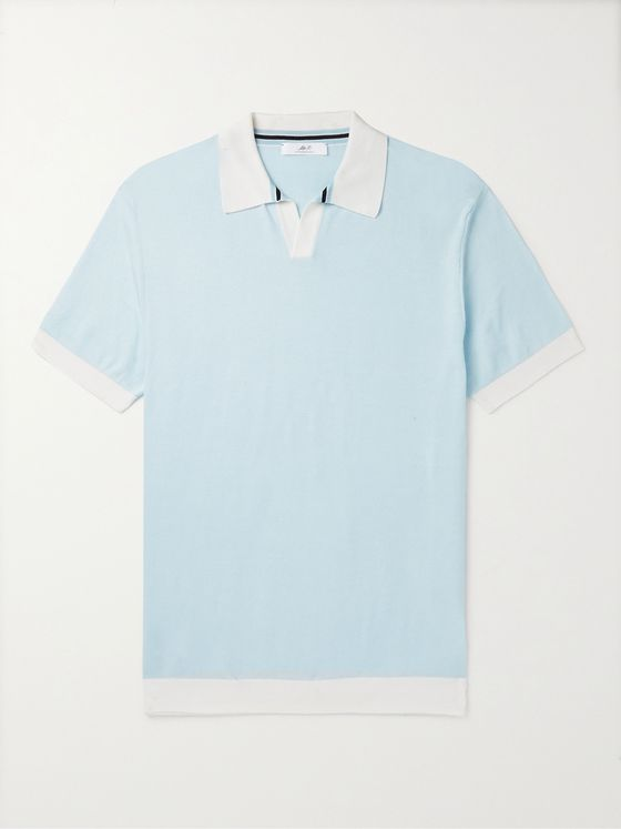 MR P. Slim-Fit Honeycomb-Knit Cotton Polo Shirt