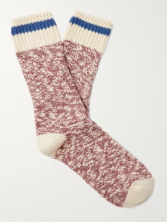 Thunders Love Flammé Ribbed Mélange Cotton-Blend Socks