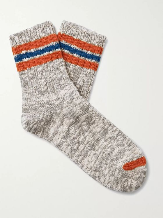 Thunders Love Athletic Striped Mélange Cotton-Blend Socks