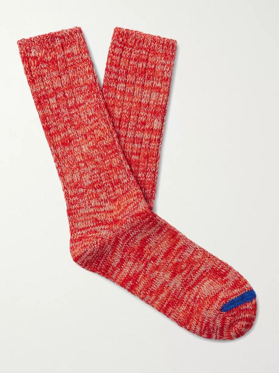 Thunders Love Ribbed Mélange Recycled Cotton-Blend Socks