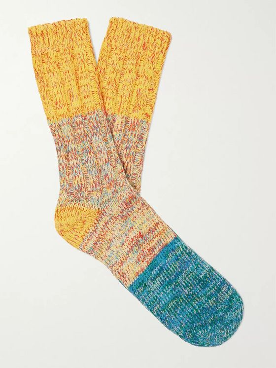 Thunders Love Charlie Ribbed Mélange Recycled Cotton-Blend Socks