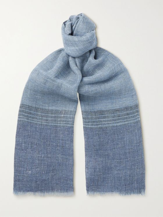 LORO PIANA Fringed Striped Linen Scarf
