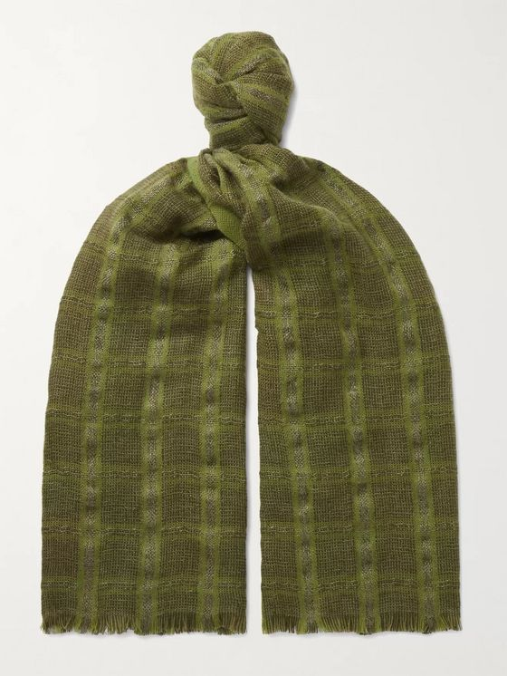 LORO PIANA Checked Linen and Cashmere-Blend Tweed Scarf