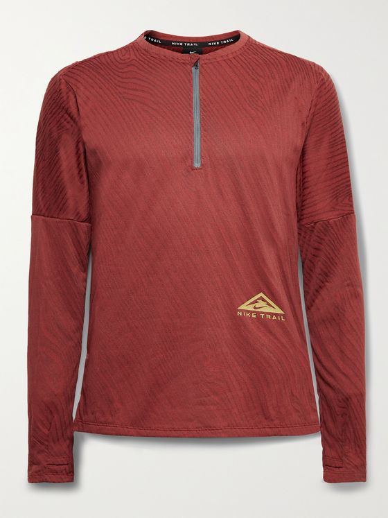 NIKE RUNNING Element Logo-Print Dri-FIT Jacquard Half-Zip Top