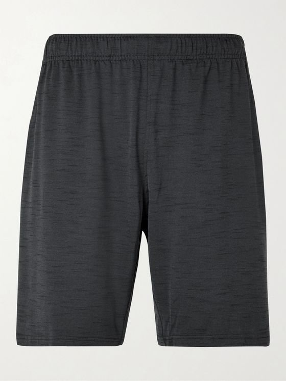 NIKE TRAINING Wide-Leg Logo-Print Mélange Dri-FIT Shorts