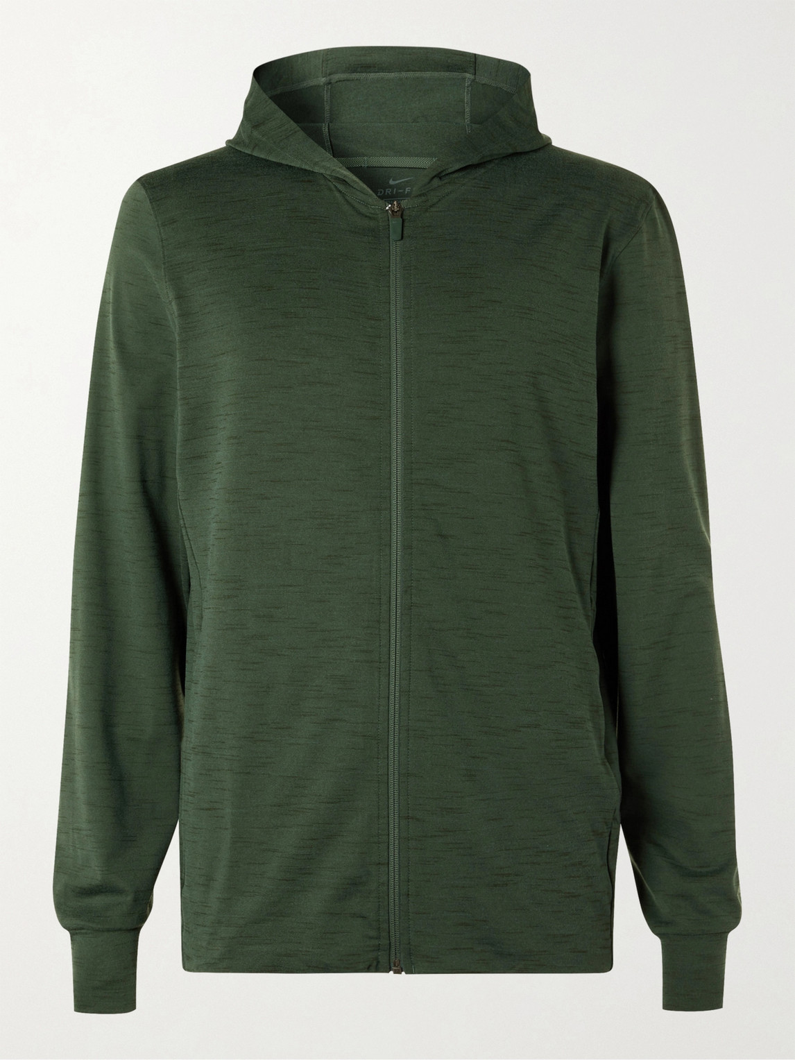 Nike Mélange Dri-fit Jersey Zip-up Yoga Hoodie In Galactic Jade,sequoia