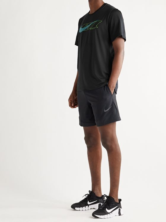 Nike Training Sport Clash Logo-Print Perforated Stretch-Jersey and Mesh T-Shirt