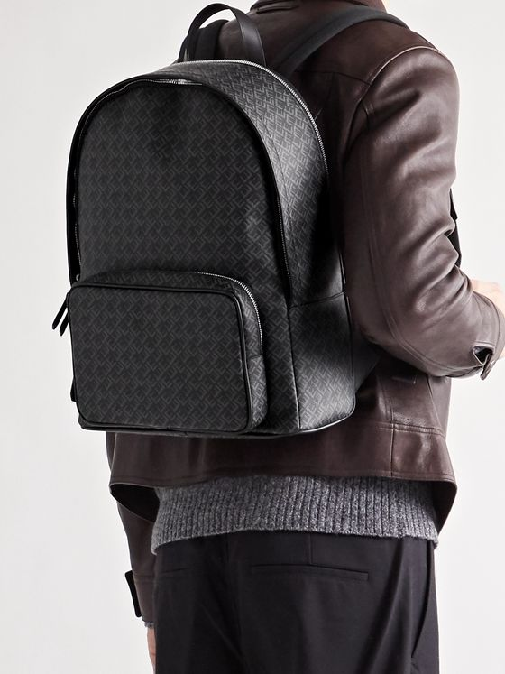 DUNHILL Leather-Trimmed Logo-Print Coated-Canvas Backpack