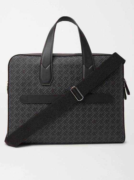 Dunhill Leather-Trimmed Logo-Print Coated-Canvas Briefcase