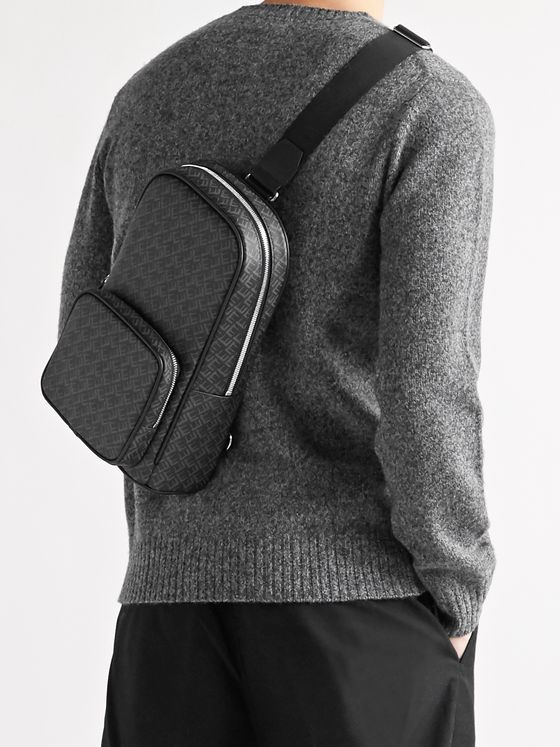 Dunhill Leather-Trimmed Logo-Print Coated-Canvas Sling Backpack