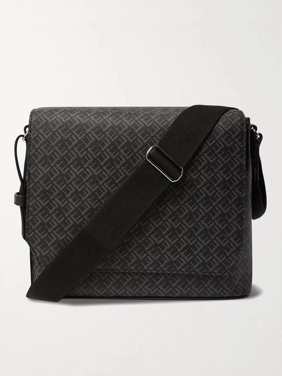 DUNHILL Leather-Trimmed Logo-Print Coated-Canvas Messenger Bag