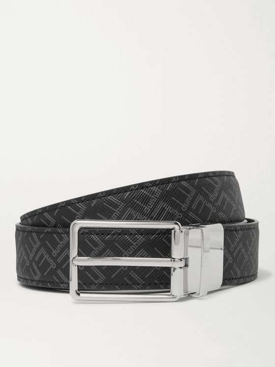 DUNHILL 3cm Reversible Logo-Print Coated-Canvas and Leather Belt
