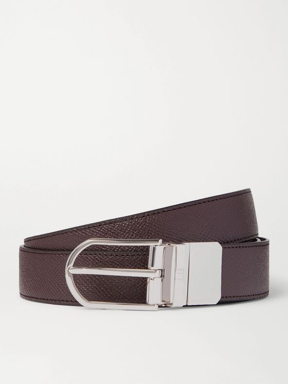 DUNHILL 3cm Reversible Full-Grain Leather Belt