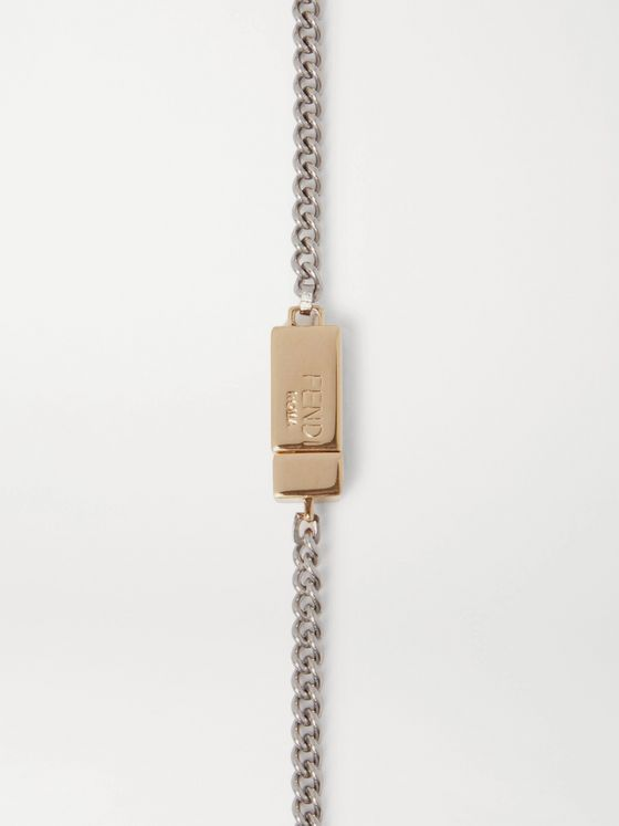 FENDI Logo-Embossed Palladium-Plated and Gold-Tone Necklace