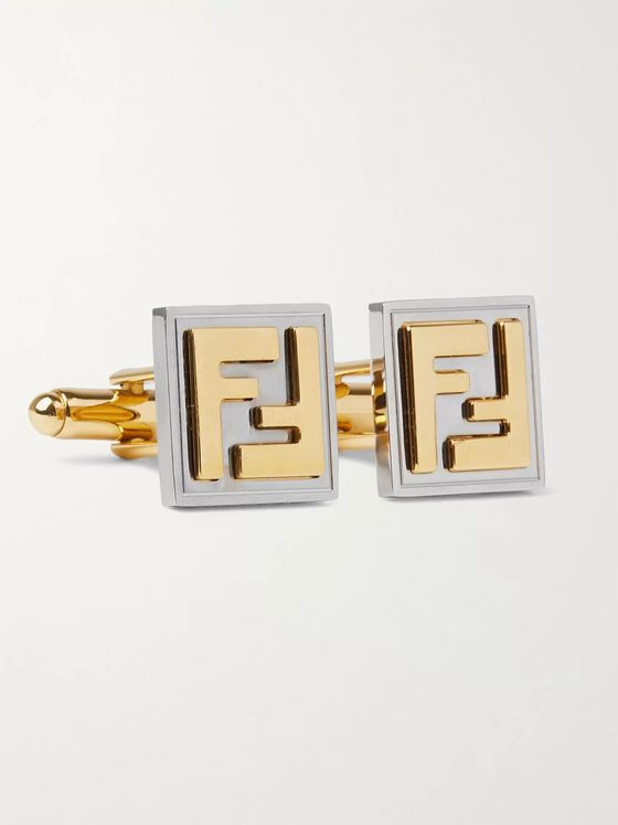 Fendi Logo-Embossed Gold-Tone and Palladium-Plated Cufflinks
