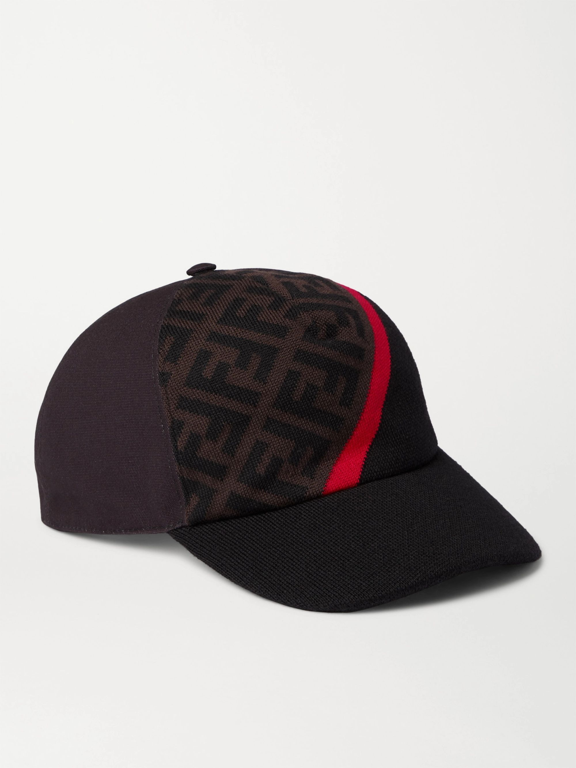 Fendi Logo-Jacquard Virgin Wool and Canvas Baseball Cap