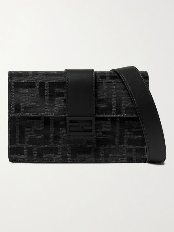 FENDI Baguette Leather-Trimmed Logo-Jacquard Messenger Bag