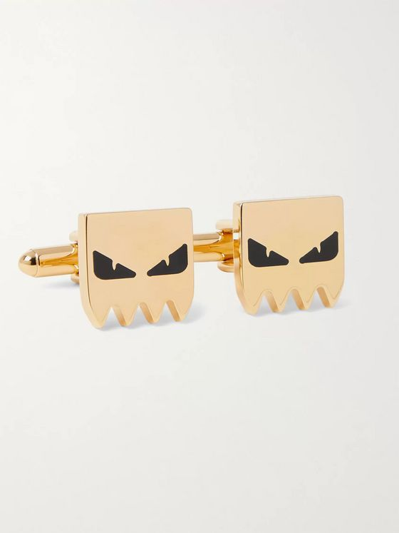 Fendi Gold-Tone and Enamel Cufflinks