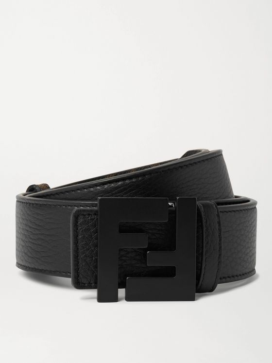 FENDI 3.5cm Reversible Logo-Print Textured-Leather Belt