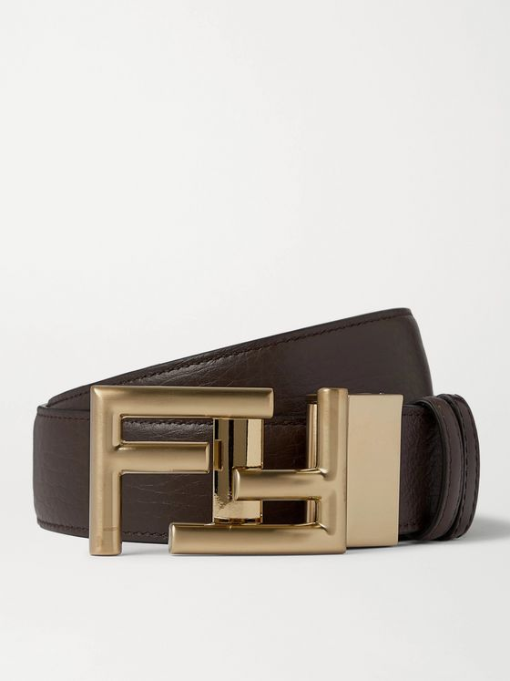 Fendi 3.5cm Logo-Embellished Reversible Leather Belt