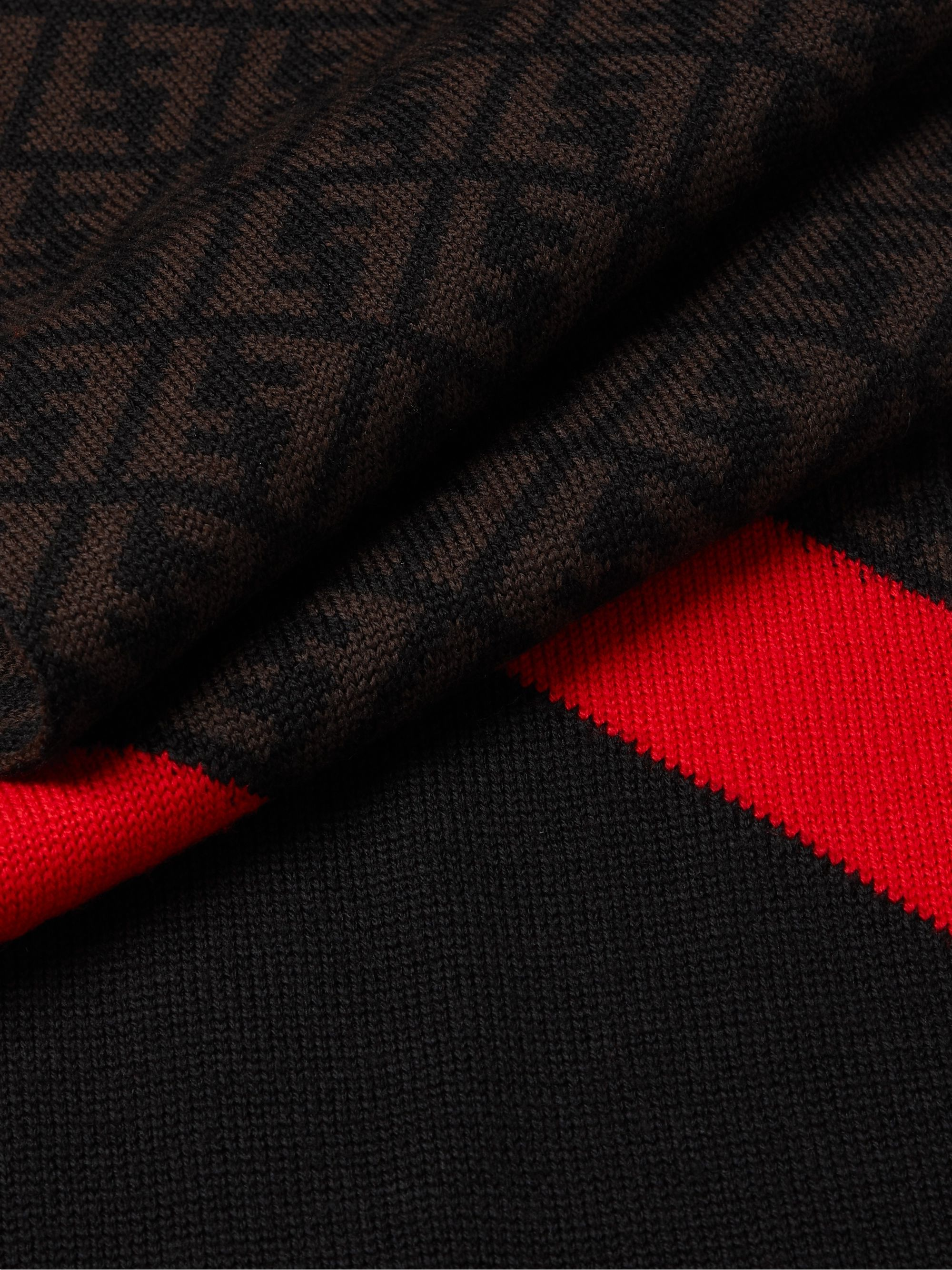 FENDI Striped Logo-Jacquard Wool Scarf