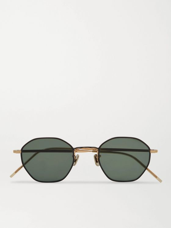 Eyevan 7285 Octagon-Frame Gold-Tone and Titanium Sunglasses