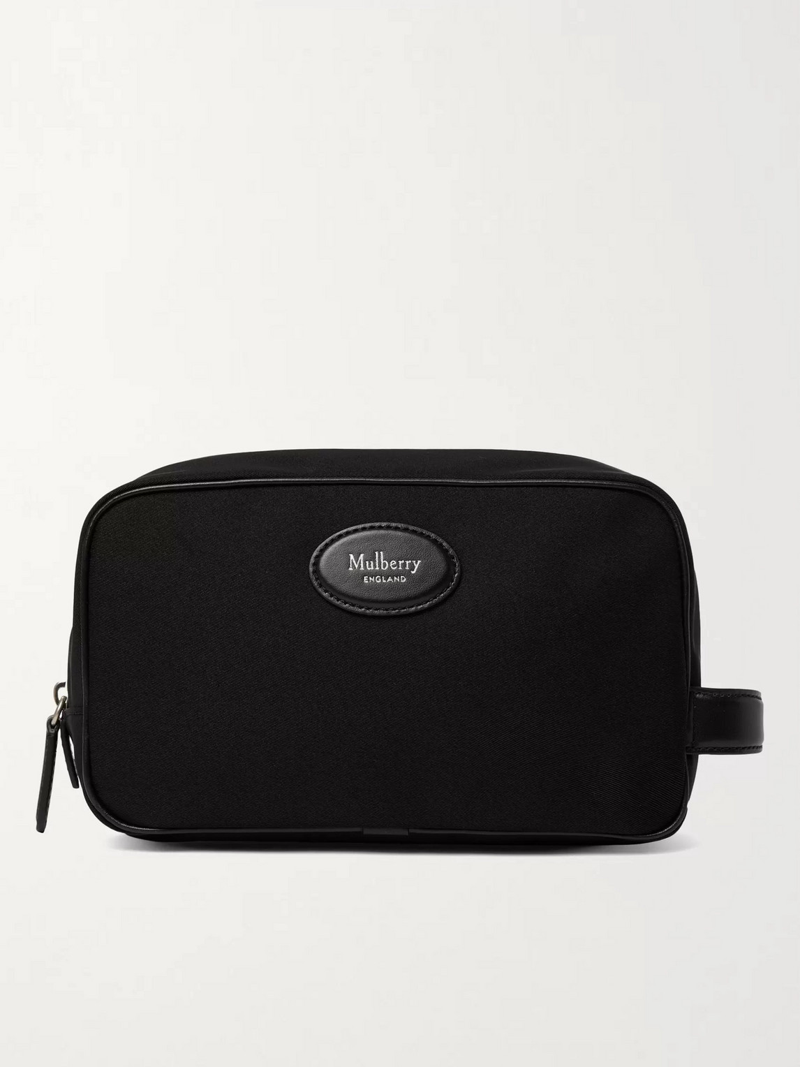 Mulberry Leather-trimmed Nylon Wash Bag In Black